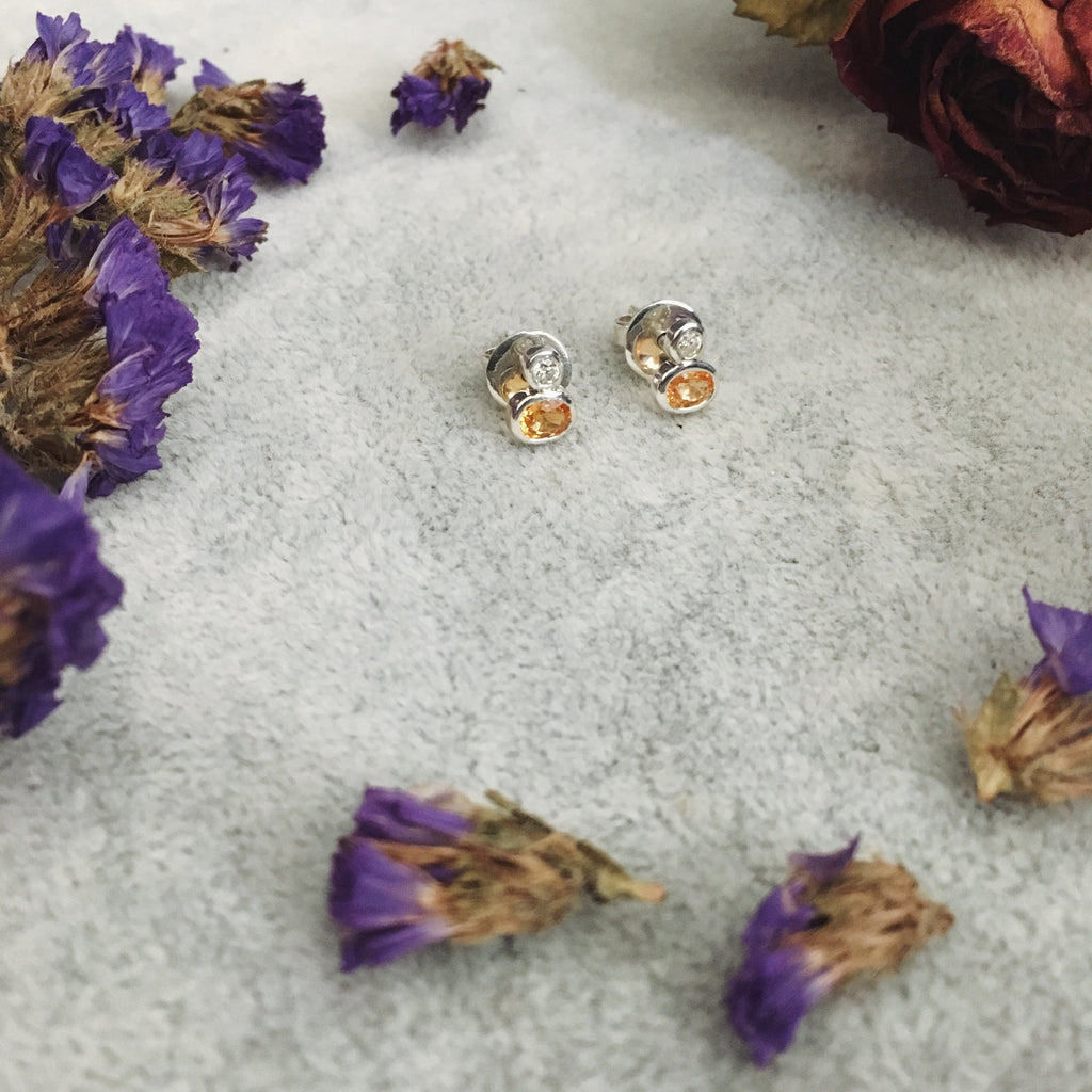 Orange sapphires + moissanite diamonds silver 925