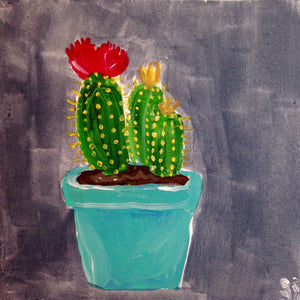 Day 198- Little Cacti- Tribute to the Mouth Painters & Foot Painting Artists of the USA (Reserved for Carrie Moritz-Clancy)