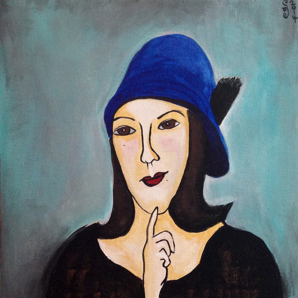 Day 347- Self Portrait in a Blue Hat- Tribute to Amedeo Modigliani (Reserved for Eleanor Skelley)