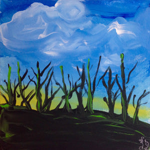 Day 199- Trees During Sunset- Tribute to the Mouth and Foot Painting Artists