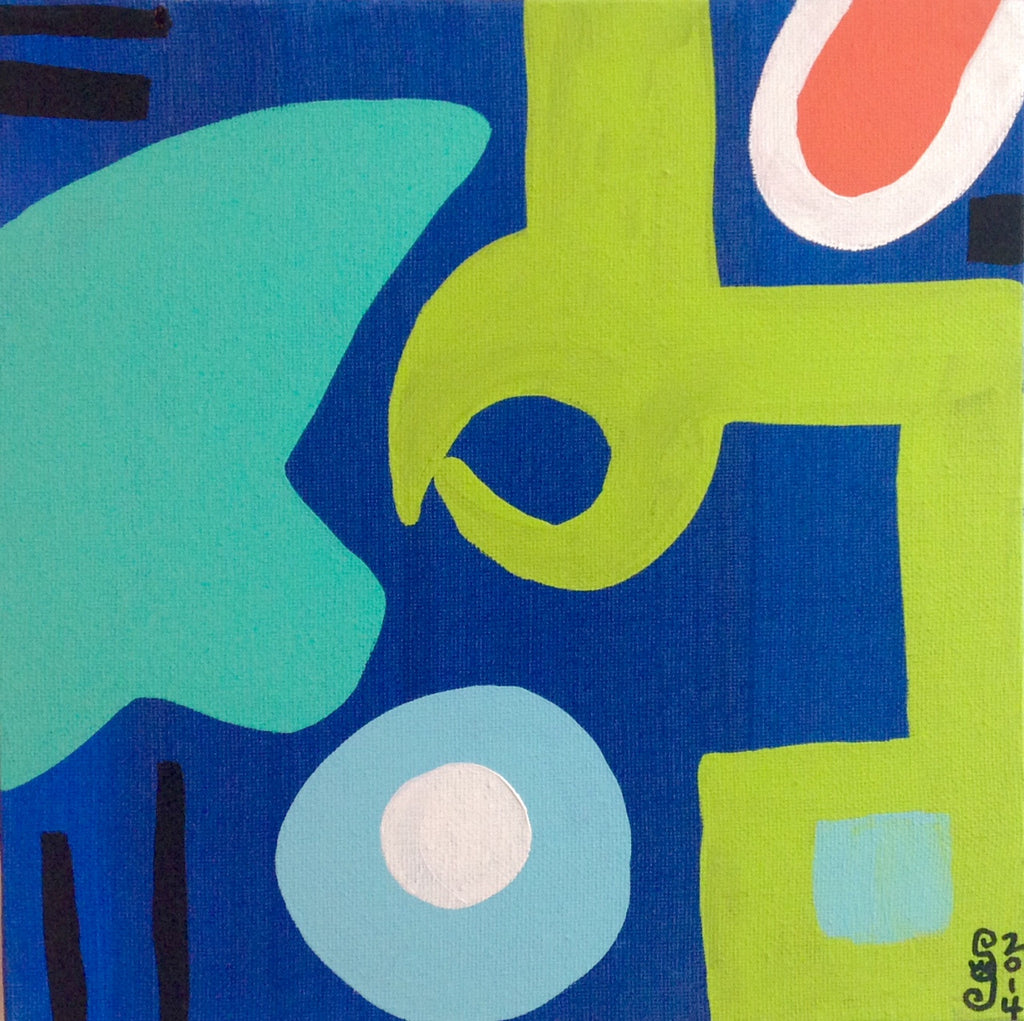 Day 128- Different Blues, Lime, Orange, Black and White- Tribute to Patrick Heron