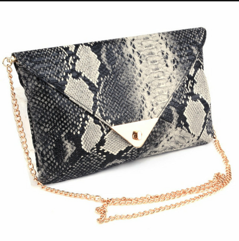 BLACK AND GREY SNAKESKIN CLUTCH