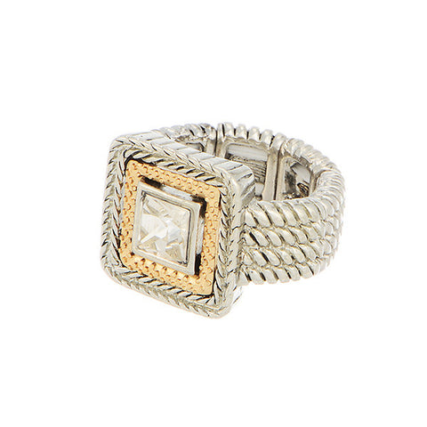 SILVER RHINESTONE CABLE RING