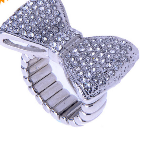 BOW RHINESTONE RING