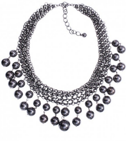 GUN METAL BEADED STATEMENT NEKCLACE