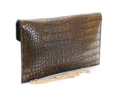 BROWN CROCODILE CLUTCH
