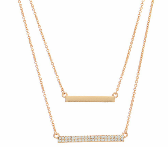 LAYERED RHINESTONE BAR NEECKLACE
