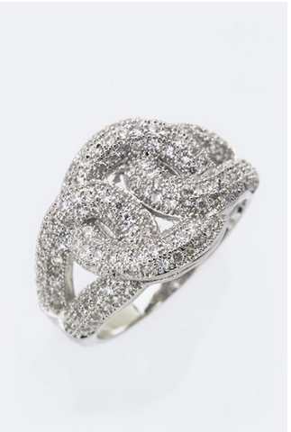 RHINESTONE LOOPS RING