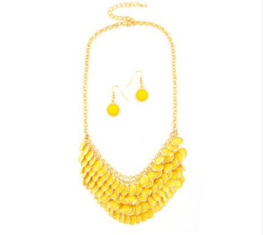 YELLOW BEADED BIB NECKLACE