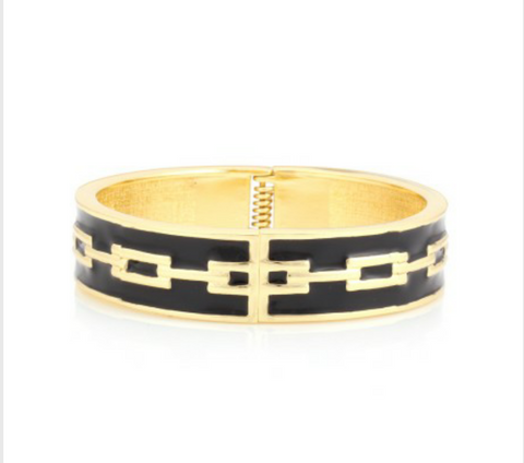 BLACK AND GOLD ENAMEL BRACELET