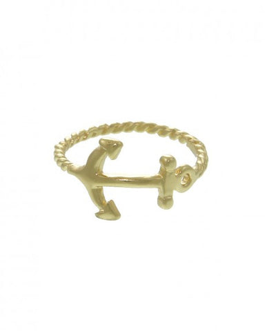 GOLD ANCHOR MIDI RING