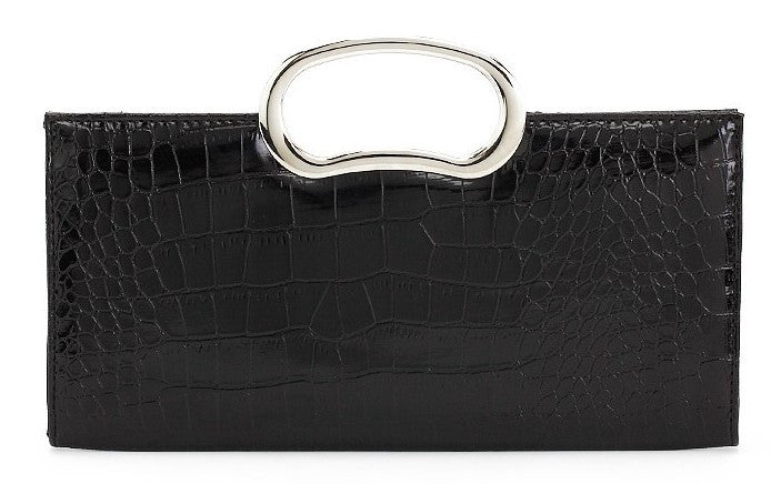 BLACK CROCODILE CLUTCH