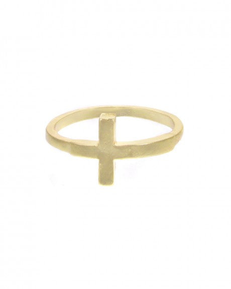 GOLD CROSS MIDI RING