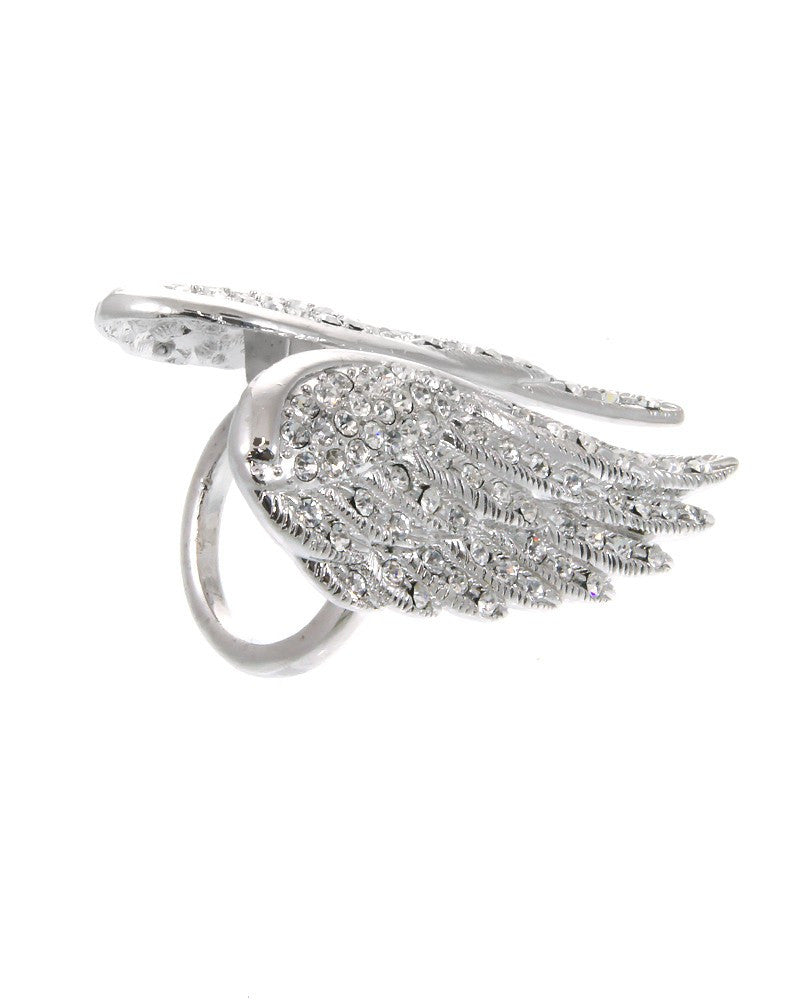 SILVER WINGS RHINESTONE RING