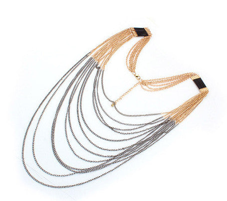 GOLD AND BLACK LONG LAYERED NECKLACE
