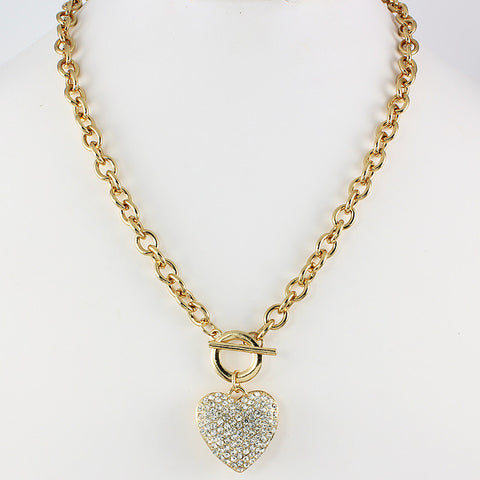 GOLD HEART RHINESTONE NECKLACE