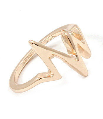 GOLD HEARTBEAT MIDI RING