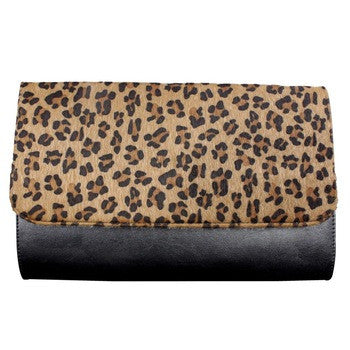 BLACK LEOPARD PRINT CLUTCH