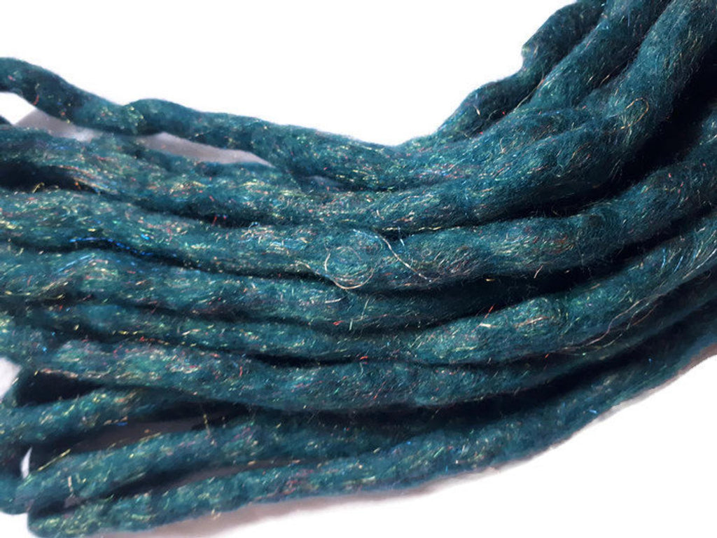 Wool Dreadlocks Sparkly teal glitter custom wool dreads- Double Ended Roving art hair extensions Kit