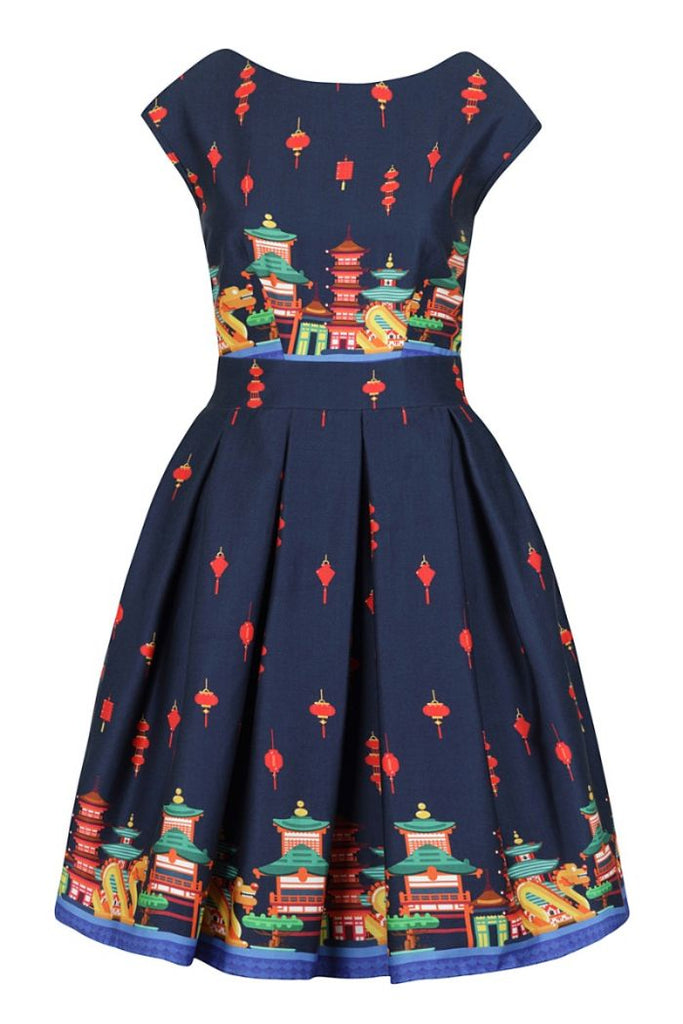 Singapore dragon Leila dress- Lady Vintage