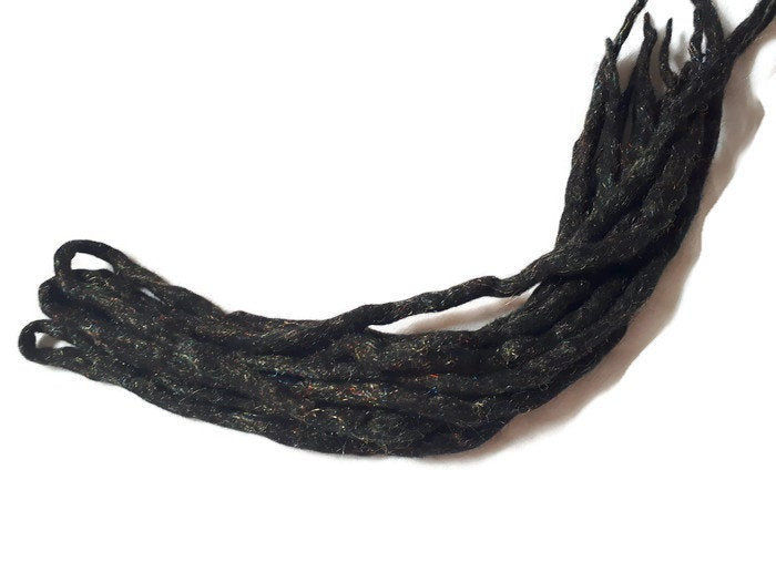 Wool Dreadlocks Sparkly black Glitter custom wool dreads- Double Ended Roving art hair extensions Kit