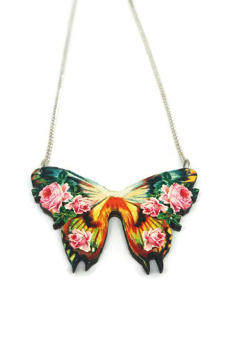 Flower Butterfly Necklace- Wood Cut- Vintage inspired jewellery