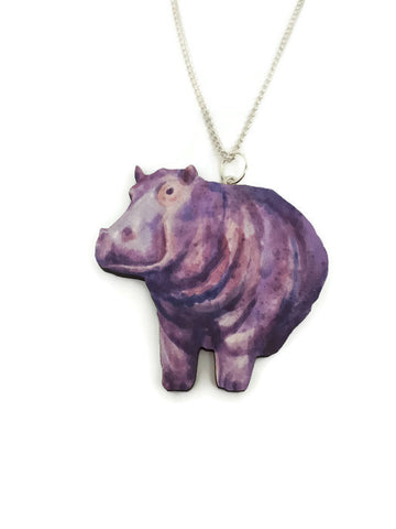 Hippo Wooden Charm necklace