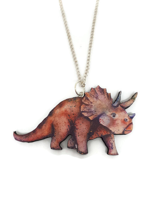 Triceratops dinosaur wooden necklace