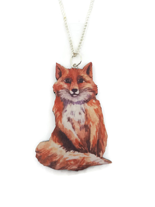 Fluffy sitting fox Necklace