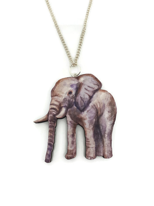 Elephant Wooden Charm necklace