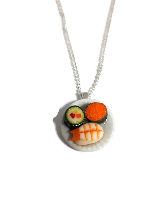 Sushi on a plate necklace