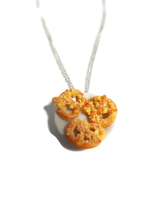 Pretzels on a plate necklace