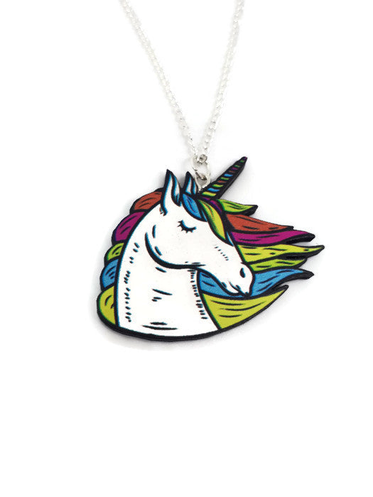 Rainbow unicorn Laser cut wooden necklace