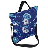 Cats in space Fold Over Tote Bag- Pigeon Overlord - Dragon Dreads