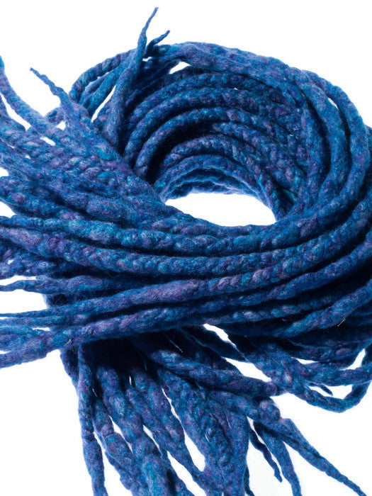 Wool dreadlocks blue purple silk blended wrapped custom wool dreads- Double Ended Roving art hair extensions Kit