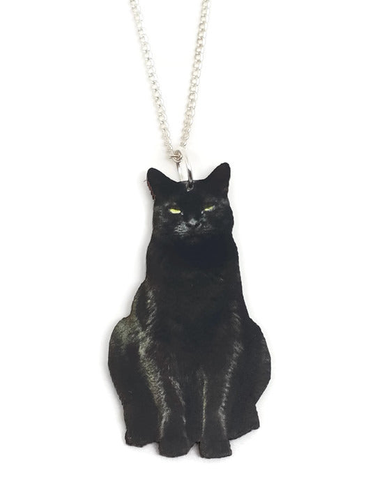 Black Cat Wooden Lasercut Necklace - Dragon Dreads