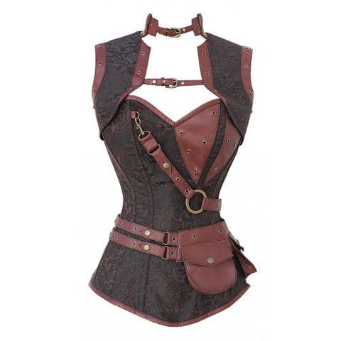 Brown Steampunk Steel Boned Corset with Jacket and Waist Pouch - Dragon Dreads