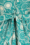 Tik Tok clocks teal tea dress- Lady Vintage
