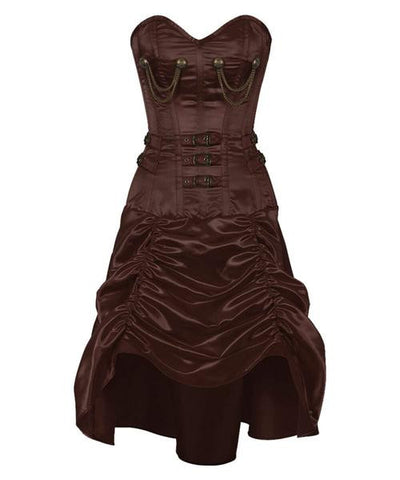 Steampunk Corset Dress- Brown - Dragon Dreads