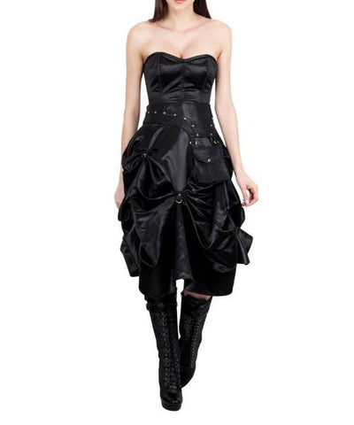 Black Steampunk Corset Dress - Dragon Dreads