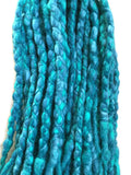 Wool dreadlocks teal peacock blended wrapped custom wool dreads- Double Ended Roving art hair extensions Kit