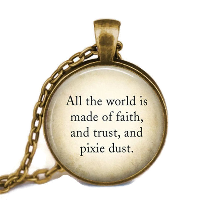 Peter Pan Pixie Dust Quote Necklace Dragon Dreads