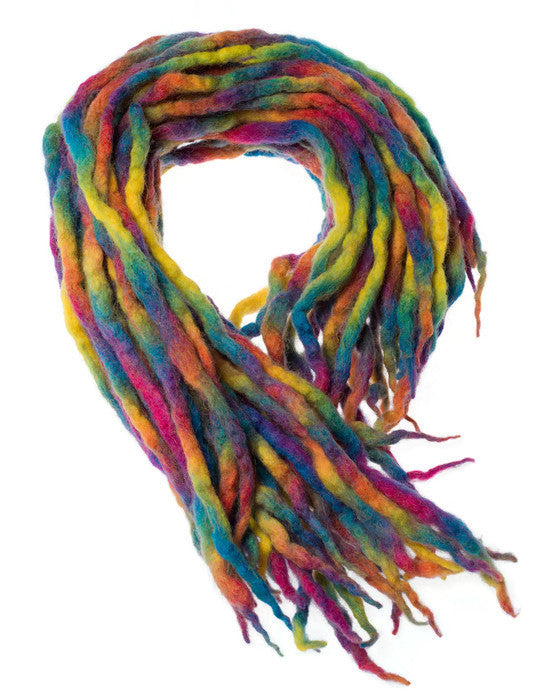 Rainbow Bright wool dreads-  Double Ended Roving art hair extensions Kit