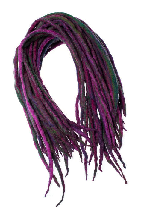 Purple green forest wool dreads-  Double Ended Roving hair extensions Kit