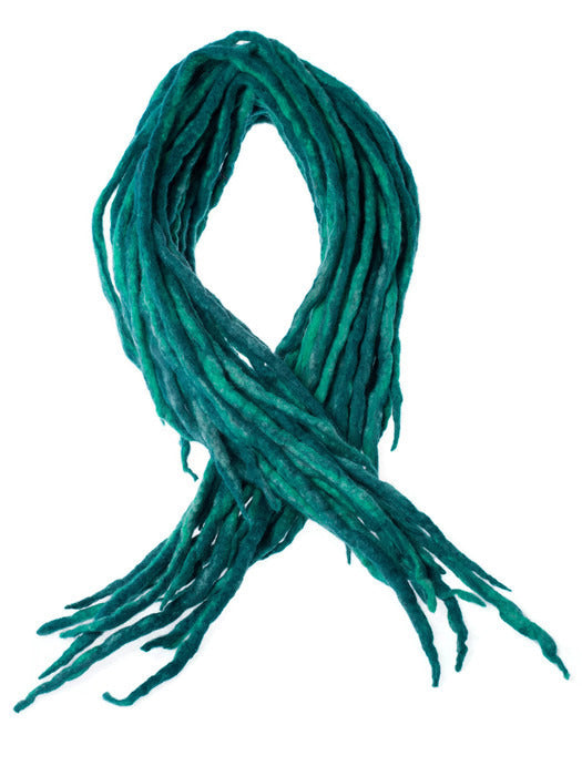 Wool Dreadlocks Teal Peacock Blue blended custom wool dreads- Double Ended Roving art hair extensions Kit