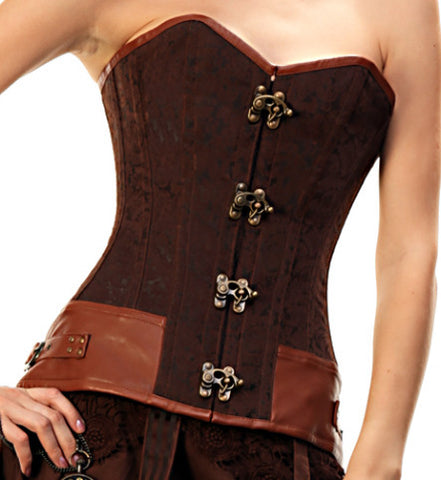 Long Lined Brown Steel Boned Steampunk Corset With Latch Hooks - Dragon Dreads