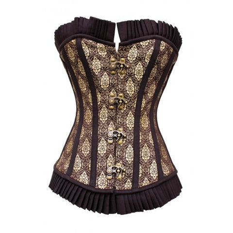Steampunk Gold Brocade Over Bust Corset - Dragon Dreads