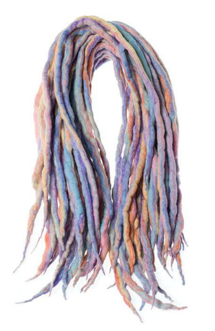 Rainbow pastel kawaii wool dreads-  Double Ended Roving hair extensions Kit