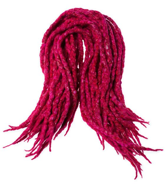 Wool dreadlocks Pink Red and Silk wrapped custom wool dreads- Double Ended Roving art hair extensions Kit