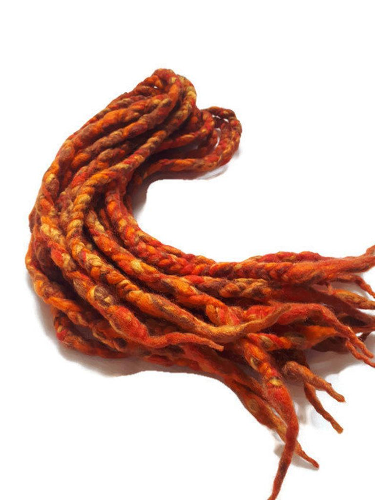 Wool dreadlocks orange fire silk blended wrapped custom wool dreads- Double Ended Roving art hair extensions Kit